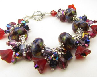Charm Bracelet, Beaded, Ruby Red and Purple Boro Lampwork Beads, gift for her handmade by Harleypaws, SRAJD, SALE