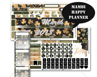 Saint Patricks Day Stickers MONTHLY Planner Kit, for Happy Planner, Life Planner Sticker, Monthly Sticker Kit, March kit #SQ00012-MHP
