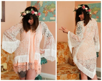 Lace High Low Kimono, Fringe High Low Kimono, Vintage Lace Kimono, Boho Wedding Lace Kimono, High Low Kimono, Boho Fringe Kimono