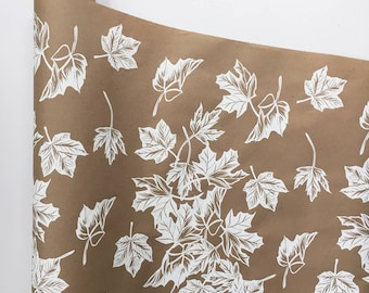 Wrapping Paper - White Maple Leaf Paper Roll, Kraft Wrapping, Wedding Gift Wrap, Fall Decor, Leaf Print, Paper Table Runner, Autumn Decor