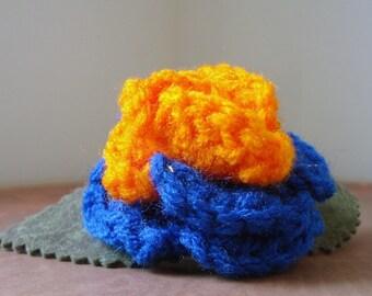 Crocheted Rose Barrette - Blue and Orange (SWG-HB-PO01)