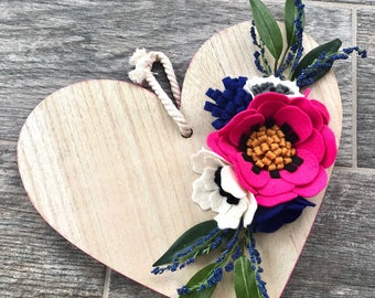 Wooden heart with felt flowers and greenery--Valentine's Day Decor//Home Decor