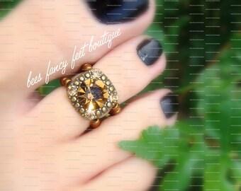 Citrine Toe Ring, Citrine Ring, Copper Toe Ring, Copper Beads, Citrine Slider Bead, Toe Ring, Ring, Stretch Bead Toe Ring
