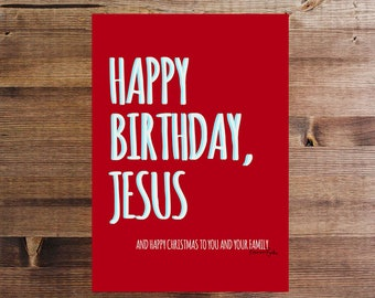 Red Happy Birthday Jesus Christmas Gift Tag / Decor Digital Download Funny Holiday Printable