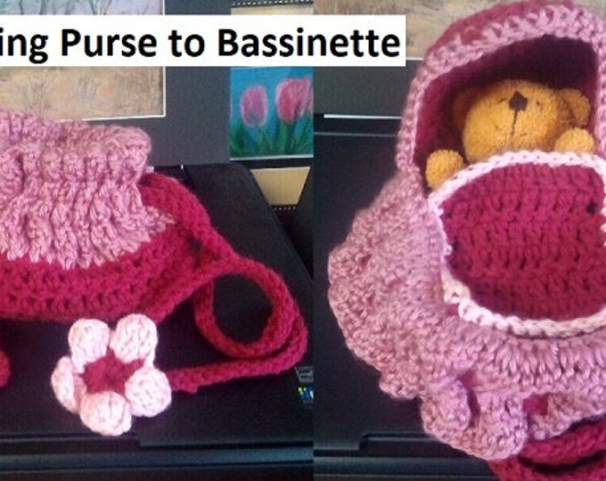 """Toy for Toddler, Crocheted Purse/Bassinet with Blanket, """"Transforming Purse"""""""