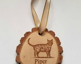 Personalized Rustic wood Cat Christmas ornament cabin country lodge