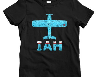 Kids Fly Houston T-shirt - IAH Airport - Baby, Toddler, and Youth Sizes - Houston Texas Tee, Travel, Gift - 2 Colors