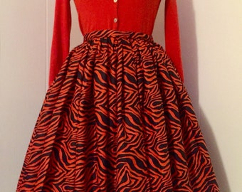 1950s Vintage Style Circle Skirt with Orange Tiger Print