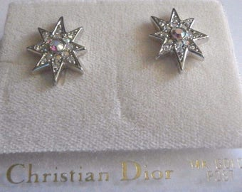 Christian Dior Signed  Rhodium Plated Earrings with Aurora Borealis Crystals and 14 kt Posts