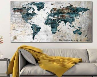 Personalized map art etsy world maptravel map posterpush pin world mapcustom world map gumiabroncs Images