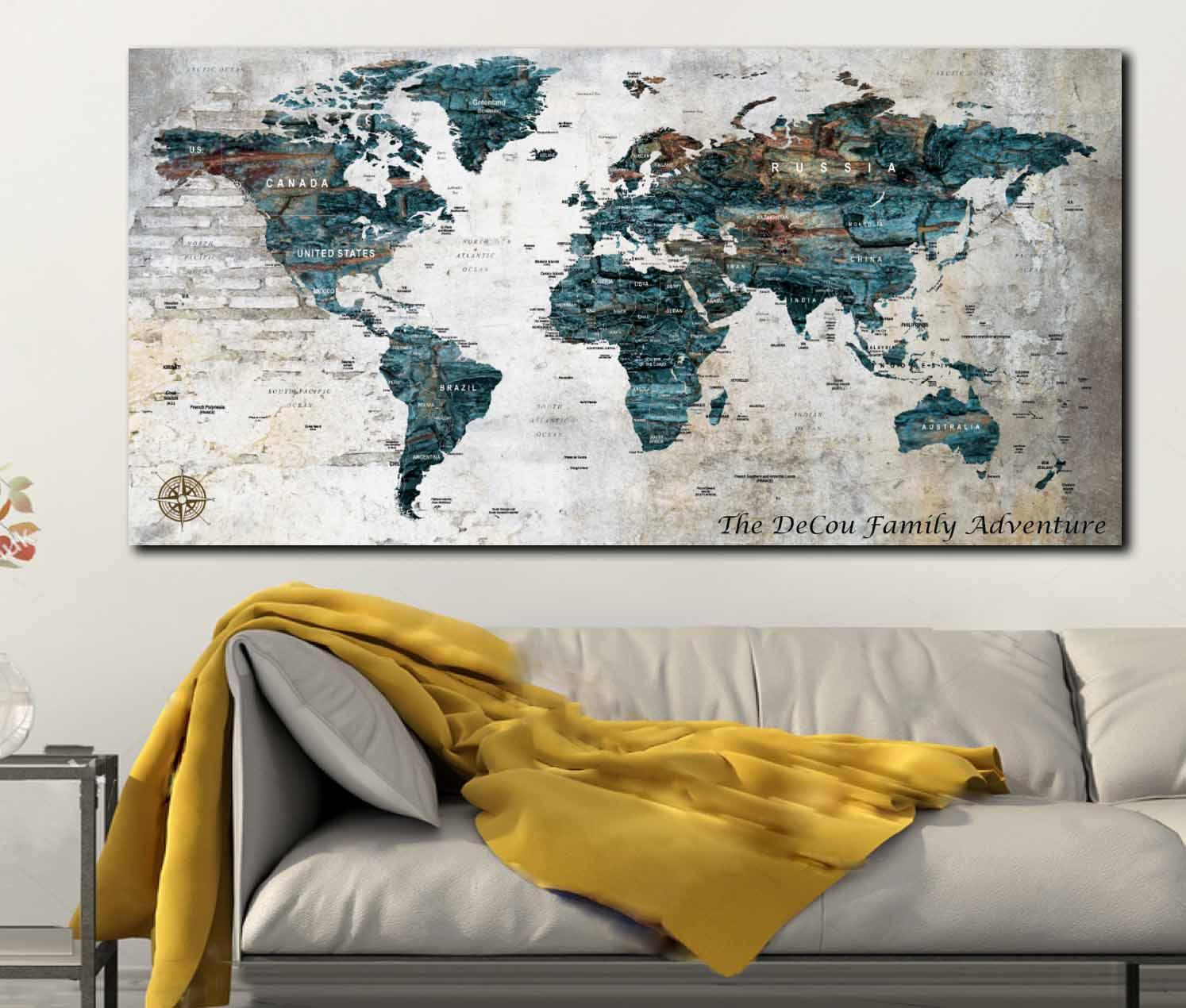 World maptravel map posterpush pin world mapcustom world ampliar gumiabroncs Image collections