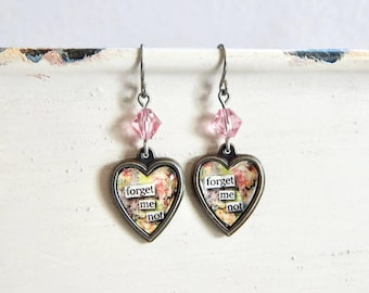 Valentine's Day heart earrings - Forget me not - crystal heart earrings - floral earrings