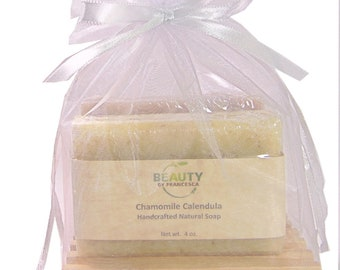 Handmade Soap Gift Set - 2 Full Size Bars and Wooden Soap Dish in Organza Bag