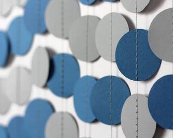 Blue and Gray Garland - Denim Garland - Dark Blue Paper Garland - Dark Blue Party Decor - Graduation Decor