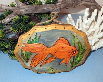 Wood burned fish plaque