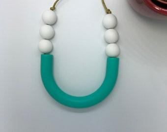 Teething Necklace | Sensory U-Tube Bar Silicone | Necklace | New Baby | Baby Shower Gift | Mum to Be