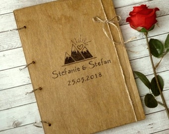 Wooden Wedding Guest Book, Mountain Guestbook, Rustic Wedding Guest Book, Custom Guestbook, Guest Book Alternative,  Large Guest Book A4