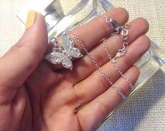 Butterfly Necklace in Sterling Silver, Monarch Butterfly Jewelry
