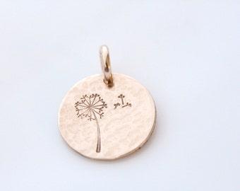 Gold or Silver Dandelion Charm, Handstamped Make a Wish Dandelion Disc, Dandelion Necklace, Gift for Her