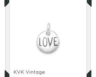"Oxidized ""Love"" Hand-Stamped Sterling Silver Charm"