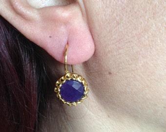Gemstone Earring, Purple Earring, Gold Filled Earring