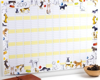 Large 2019 Wall Calendar And Year Planner - Dog wall planner 2019 - Dogs year wall planner - Dog Daily planner