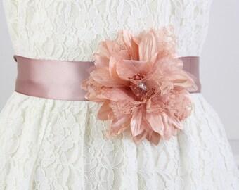 Vintage Rose or Blush Rose Color Flower Sash, Wedding Flower Sash, Bridesmaid Sash, Flower Girl Sash, Blush Flower Sash Belt