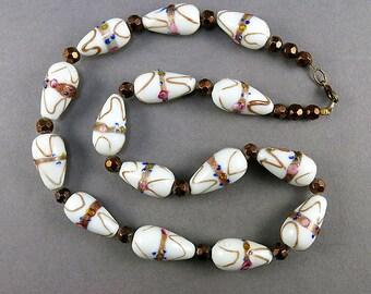 Vintage Wedding Cake Beads Necklace White Lampwork Beads Vintage Jewellery
