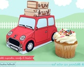 red retro car -  cupcake box holds cookies and treats, gift and favor box, party centerpiece printable PDF kit - INSTANT download