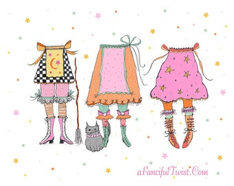 Whimsical Witches & Bloomers Print 8x10