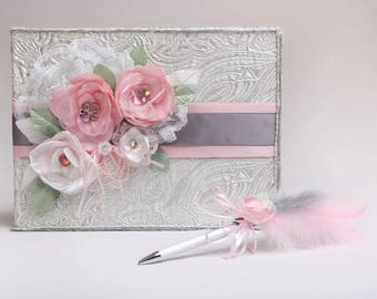 Shabby Chic wedding guestbook with pen set, Shiny silver fabric guestbook and pen with feather, Handmade pink flower rhinestone guestbook