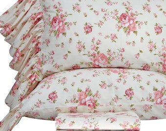 Shabby Printed Bed Sheets Set Cotton Sheets Twin/Full/Queen/King Size Bedding Sheet Beige