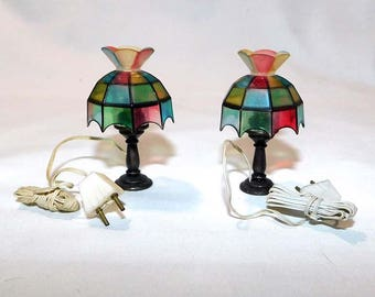 Vintage Pair CONCORD Miniatures Tiffany Lamps for Dollhouse / Still in Original Box / 12 volt Powered