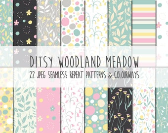 Ditsy Woodland Meadow Vector Pattern Instant Download, Commercial Use Available