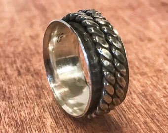 Silver Spinner Ring with Double Band. Silver Fidget Ring. Silver Worry Ring. Silver Meditation Ring. Sterling Silver.