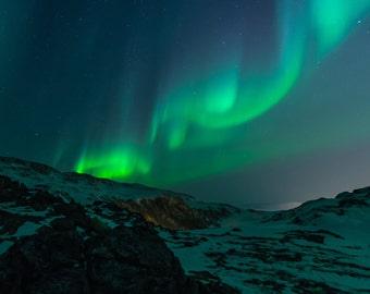 Northern Lights - Polar Lights Photo - Sky Photo - Northern Lights Photo - Square - Digital Photo - Digital Download - Living Room Decor