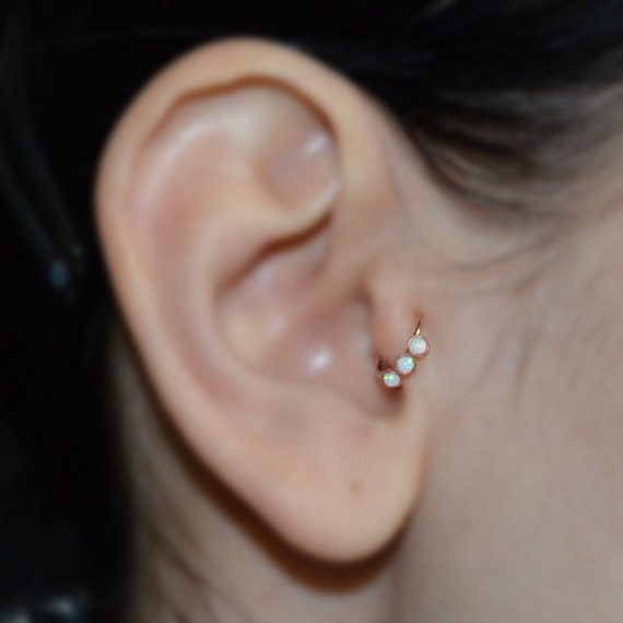 Tragus Earring Gold Nose Piercing Helix Ring White Opal