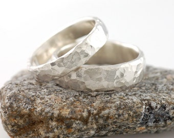 Love Rocks Wedding Rings - Palladium Sterling Silver Wedding Band Set - 4mm and 6mm - made to order wedding rings in recycled metal