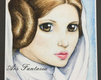 "Princess Leia, ORIGINAL Watercolor FanArt on 6x8"" Paper, Star Wars"