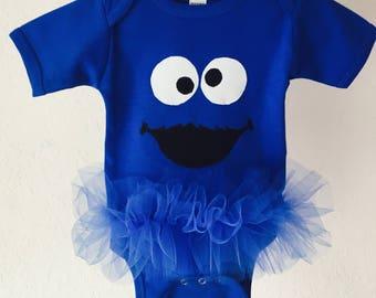 Cookie Monster Inspired Tutu Bodysuit Blue Sesame Street Monster Toddler Baby Girl 12-18 Months