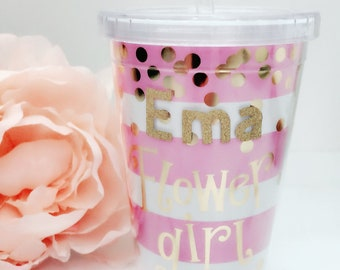 NEW Personalized Flower Girl Cups~Personalized Bridesmaid Gifts~Flower Girl Gifts~Bridal Shower Favors~Wedding Cups~Personalized Cups