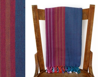 Turkish Fouta Beach Towel Turkish Bath Towel Hammam Towel Cotton Picnic Blanket Turkish Towel Yoga Sarong Pareo Purple Blue EMBERS PESHTEMAL