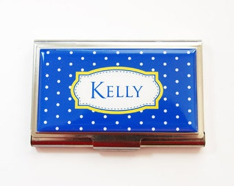 Business card holder, Personalized Business Card Case, Custom Gift, Personalized, Business Card Case, Polka Dot, Blue, Yellow (3728)