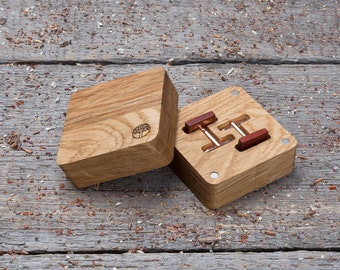 Wooden Cufflinks, gift box and free shipping,  Square red padauk wood cufflinks, groomsmen wedding cuff links set, monogrammed, engraved