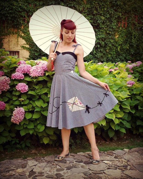 Rockabilly Dresses | Rockabilly Clothing | Viva Las Vegas Pin Up 50s Vintage Inspired Full Circle Poodle Skirt Kite Applique Skirt handmade by BlancheOfArtsPin Up 50s Vintage Inspired Full Circle Poodle Skirt Kite Applique Skirt handmade by BlancheOfArts $137.89 AT vintagedancer.com