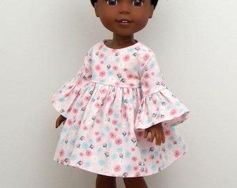 14.5 inch Doll Clothes-Warm Spring Day Collection-Pink Floral Dress