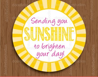 Sunshine Favor Tags, Printable Sunshine Labels, Sunshine Labels, Sending You Sunshine Tags, Sunshine Printables, Sunshine Tags