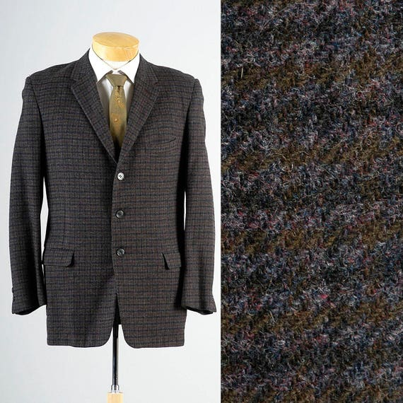 40 Blazer Green Box Tweed Check Purple Slim Plaid Vintage 3 Jacket 50s Rockabilly Button Mens q6vpx