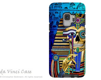 Egyptian Sugar Skull Case for Samsung Galaxy S9 - Day of the Dead S9 Dual Layer Case by Da Vinci Case - Funky Bone Pharaoh