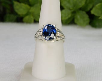 Blue Topaz Ring, Size 8, Sterling Silver, Royal Blue Color, Mystic Topaz, Glittering Sparkle